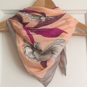 Silk Square Scarf with Floral design